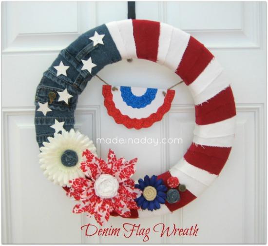 denim flag wreath