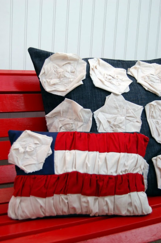 ruched flag pillows